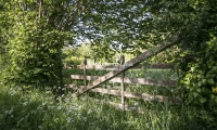 Urban Living: Farm gate in the countryside near the coast in Normandy